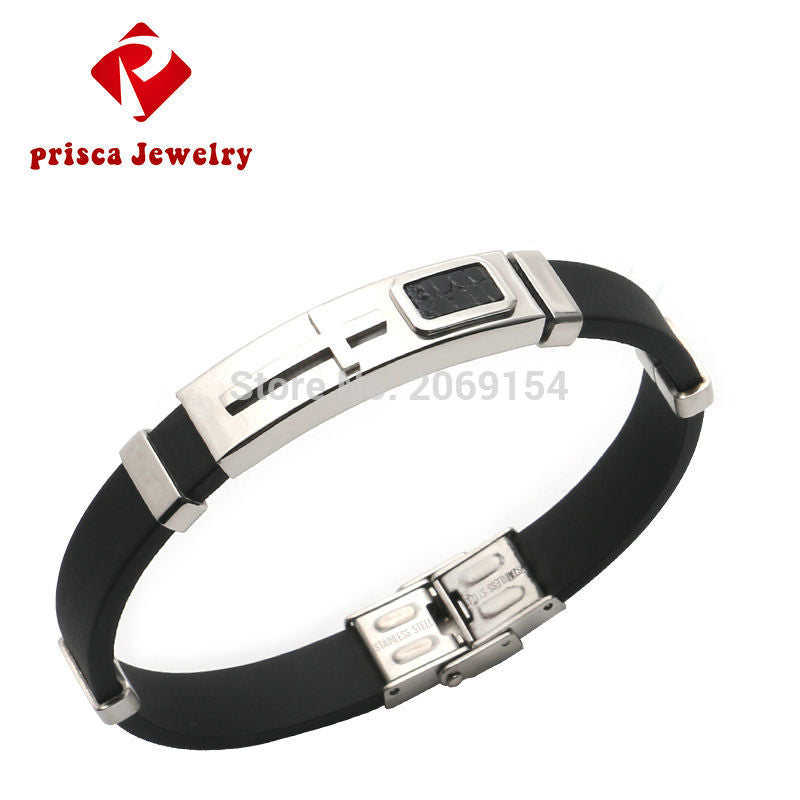 Cross Jewelry Silver Bangle Silicone Wristband Stainless Steel Chain Link Bracelet & Bangle