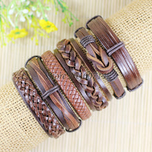 6pcs/lot Handmade ethnic tribal genuine wrap charming male pulsera black braided leather bracelets bangles