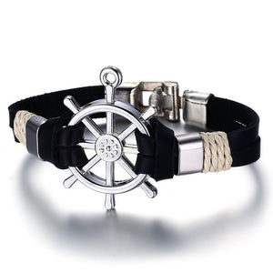 Men Bracelet Bangle Double Layer Leather Classic Vintage Daily Sport Sailing Jewelry