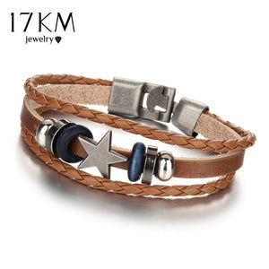3 Color Vintage Punk Design Star Leather Bracelets For Women Men Wristband Female Multilevel Geometrical Bracelet Jewelry