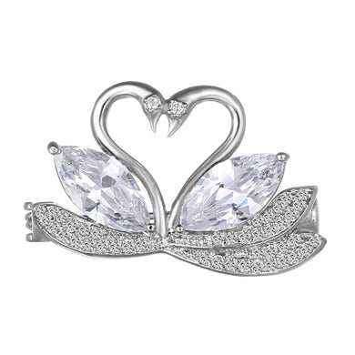 Hot Swan Brooches For Women Cubic Zirconia Crystal Love Badges Animal Brooch  Pins Banquet Jewelry Brooch