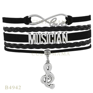 (10 pcs/lot) Infinity Love Singing Musician Music Note Charm Bracelets For Women Jewelry Black Wax Suede Leather Wrap Bracelet