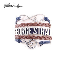 Infinity love counrty music George Strait Bracelet Note Charm leather men bracelets & bangles for women jewelry