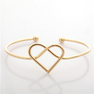 Simple Hollow Love Heart Bangle Gift for Girl Gold Silver Opening Adjustable Bracelet Women