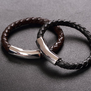 Trendy Men 8mm Round Geniune Leather Bracelets Men Stainless Steel Leather Bracelets&Bangles Male Bracelets Pulseiras masculinas