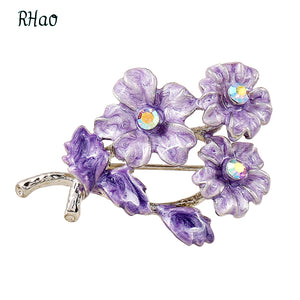 New Elegant purple flowers Drips Enamel pins wedding brooches for women jewelry accessories hijab pin bridal bijoux brooch