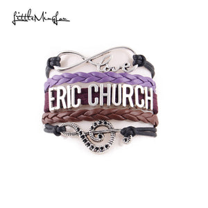 Infinity love Eric Church bracelet musical note charm leather wrap men bracelets & bangles for women jewelry