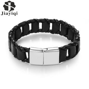 Leather Bracelet Black Color Male Punk Bracelets & Bangles Stainless Steel Buckle Fashion Wristband Gifts