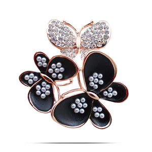Vintage Crystal Butterfly Brooch Pin Imitation Pearls Enamel Insect Brooches For Women Dress Jewelry