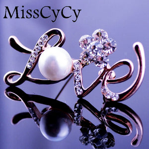 Simulated Pearl Jewelry Rhinestone Latters Love Gold Color Brooches For Women