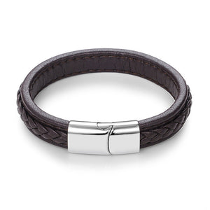 Leather Bracelets Black/Brown Color Bracelets & Bangles for Men Jewelry Stainless Steel Buckle Punk Gift