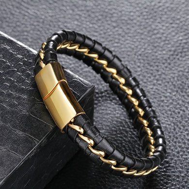 12mm Leather Bracelets Men Stainless Steel Gold Plating Chain & Link Bracelets&Bangles For Male Jewelry
