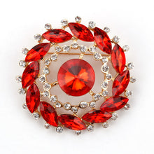Classic Crystal Rhinestones and Large Oval Acrylic Flower Brooch Pins for Women in Various Colors