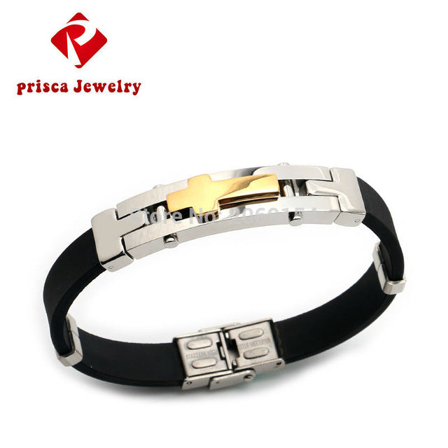 Stainless Steel Chain Bracelet Charm Jewelry Magnetic Wristband Silicone  Rubber Steel Men Fashion Cross Jewelry Trendy Design