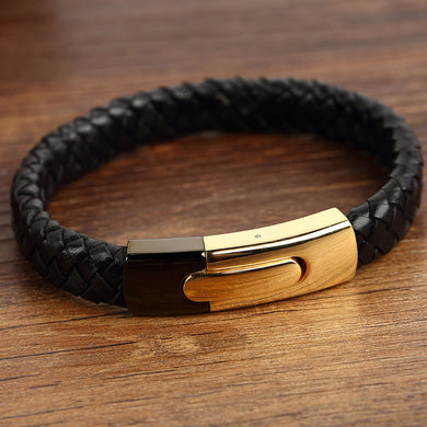 12mm Genuine Leather Bracelets Men Stainless Steel Black-Gold Clasps For Male Female Bracelets Jewelry