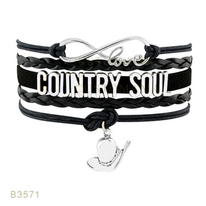 (10 PCS/Lot) Infinity Love Country Music Soul Hat Boots Charm Bracelets For Women Country Girl Navy Brown Jewelry Wrap Bracelet