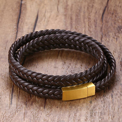 Mens braslet Triple Wrap Around Braided Leather Bracelets Bangles Men Stainless Steel Magnetic Clasp Wristband Fashion Jewelry