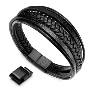 leather Bracelet For Man Gift Stainless Steel Magnetic-Clasp Cowhide Braided Multi-layer Wrap Mans Bracelet, 8''-8.7''