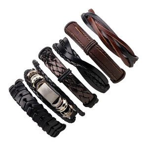 Blue Leather Bracelets Set For Men Retro Rock Rope Bracelets Men Jewelry Male Punk Leather Bracelet & Bangle Men 3PCs/set