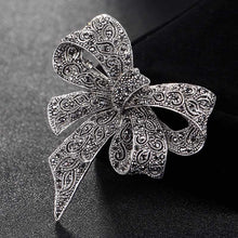Cute Women Bow Brooches bridal Jewelry Antique Silver Color flower brooch pins party Gifts hijab Accessory Hats jewelry