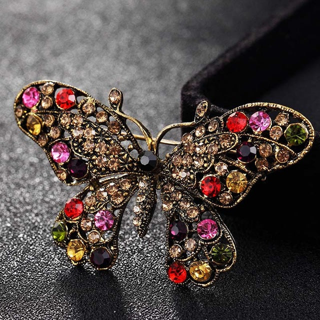 colorful Rhinestone Butterfly Brooches Jewelry Fashion Women's Vintage Scarf Pins Kawaii Cute Butterfly Hijab Pins Joias