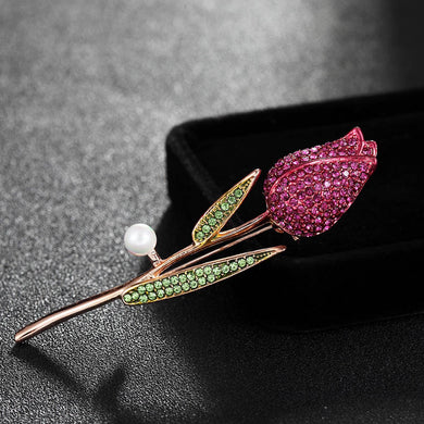 Luxury Brand Pink Rhinestone Bridal Brooches Jewelry Fashion Women Enamel Flower Hijab Pins And Broaches Hats Accessories