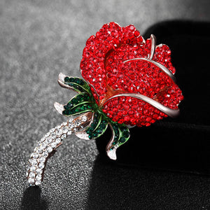 Red Pink Rose Flower Brooch For Women Best Wedding Bridal Jewelry Fashion Crystal Brooch Pin Party Anniversary Jewerly