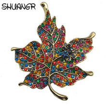 SHUANGR High Quality Multi Color Crystal Rhinestone Maple Leaf Brooch Pin Plant Costume Jewelry For Women Accessories