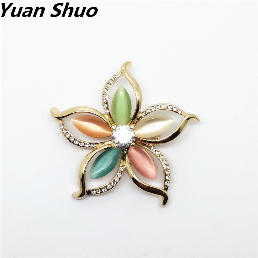 Natural Cat's Eye Five Petals petals Exaggerated Brooch corsage pins Clothes Accessories