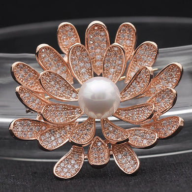 Cubic Zircon Flower Wedding Brooches Jewelry Brand Women Gold color Brooch And Pendant Double Copper Hijab Pins Bijoux