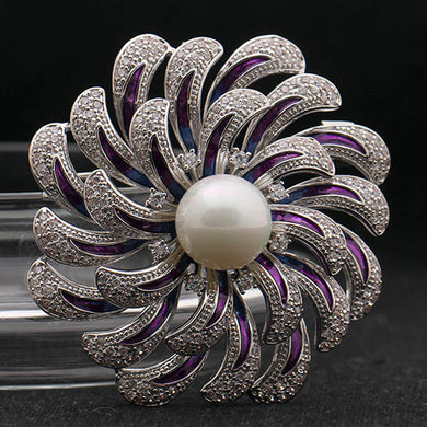 Cubic Zircon Brooches For Women Wedding Jewelry Brand Pearl Flower Brooch Pins Anniversary Jewelry Enamel Scarf  Pins