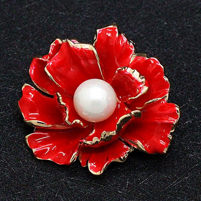 Blue Wedding Enamel Flower Brooch for Women Dress Scarf Brooch Pins Fashion Hijab Accessories Pearl Brooch Bijoux