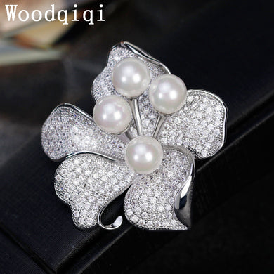 Lager Silver cz Brooch cubic zirconia Brooches For Women Wedding Bouquets Clip Scarf Buckle Hijab Pins Gifts For Girl