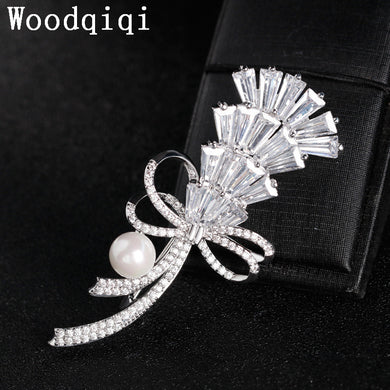 Brooches cubic zirconia Brooch Wedding Pins Fine Jewelry Brooch Brooches For Women Femme Scarf Clip Pins