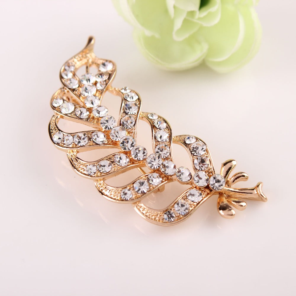 3PCs Gold Color Plated Rhinestone Crystal Leaf Shape Women Garment Brooches DIY Garment Brooch Pin Craft