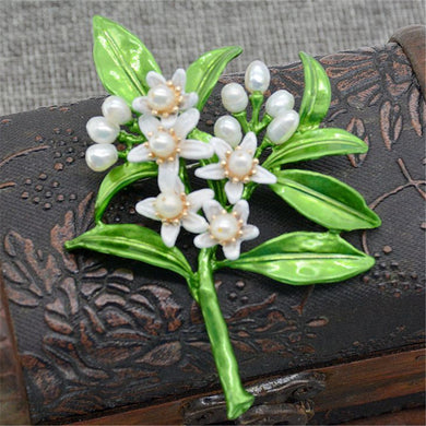 Orange blossom leaves freshwater pearl green paint exaggerated Collar pin brooch clothes accessories