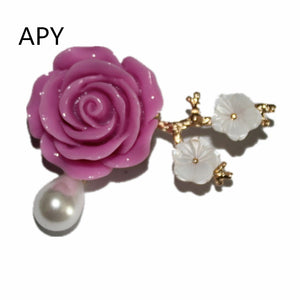 APY Flower Brooches For Women Simulated Pearl Brooch Pins Wedding Jewelry Winter Coat Brooch