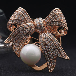 Fashion Women Copper Brooches Jewelry Brand AAA Cubic Zircon Bow Brooch Pins Women Bridal Pearl Hijab Accessory Women Scarf Pins
