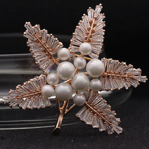 Luxury Brand Copper Zirconia Wedding Brooches For Women Kawaii Leafs Bridal Hijab Accessories Shiny Pearl Brooch Pins For Women