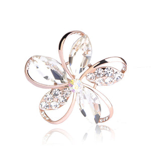 Blue Rhinestones Flower Brooches For Women Gold Color Corsages Pins Broches Dress Scarf Clips Lapel Pin Decoration Joyas
