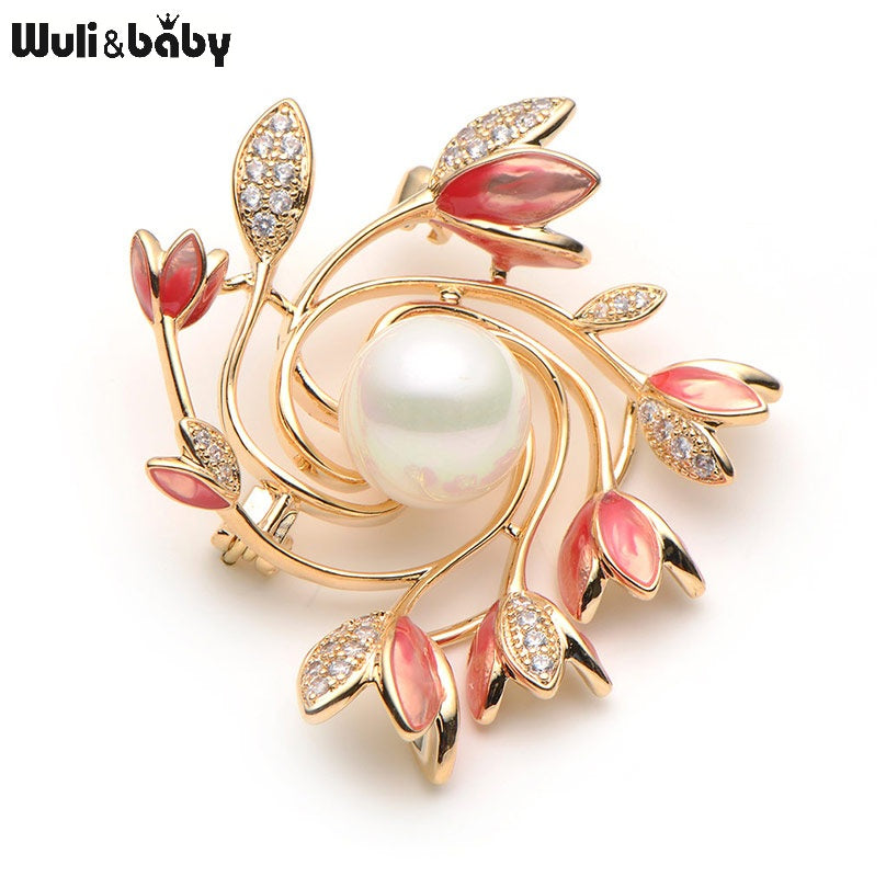 Rhinestone Simulated Red Flower Brooches For Women Alloy Bouquet Enamel Brooch Pins Fashion Weddings Brooch Banquet Broche Gift
