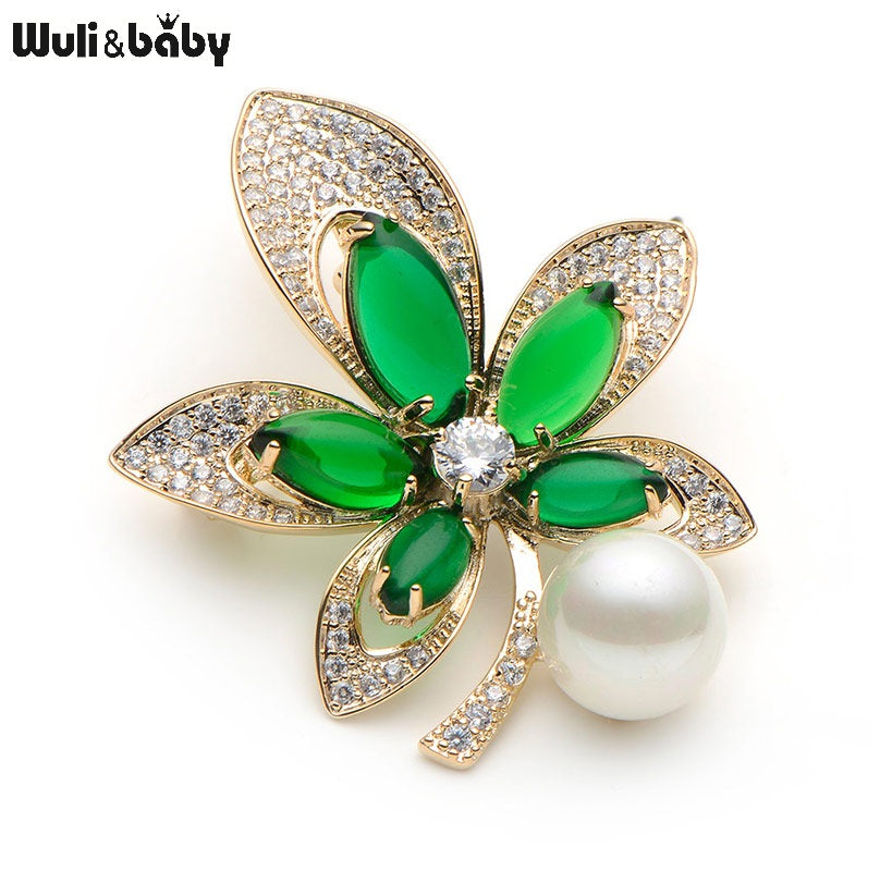 Crystal Copper Semi-precious Stone Flower Brooches For Women Simulated Pearl Flower Wedding Brooch Pins Banquet Broche Gift