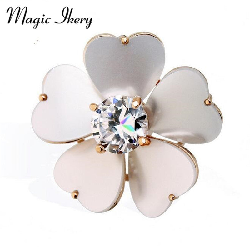 New Women Enamel Brooches Jewelry Crystal Rhinestones Flower Dresses Suit Brooch Pin Accessories