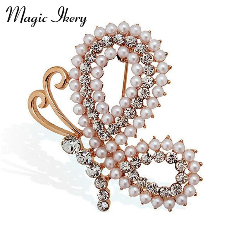 New Fashion Imitation Pearls Beautiful Butterfly Brooches Pin For Women Retro Crystal Zircon Insect Jewelry