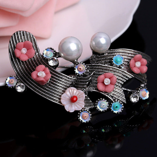Antique silver vintage Brooch Pin 2017 Chinese Plant Simulated Pearl Brooch Fashion Green Ethnic Hijab Pins Hats bijoux