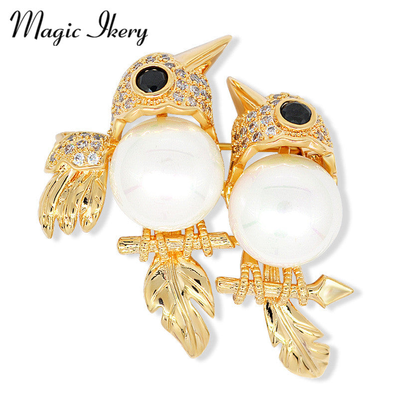 Magic Ikery New Crystal Double Birds Animal Brooches Pins Clothe Suit Collar Lapel Pins For Women Opal Jewelry JDD-B014