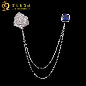 Fashion Micro Pave Cubic Zircon Rose  Chain Brooch Badge Shirt Collar Pin Flower Tassel Tips Bijoux Jewelry