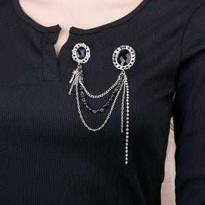 2016 New Arrival Crystal Cameo Pin Badge Fashion Black Beads Chain Collar Brooches For Women