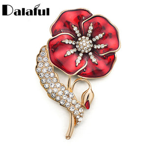 Luxury Fancy Red Flower Brooch Pin Amazing Crystal Clothes Accessories Jewelry Brooches For Wedding Bridal