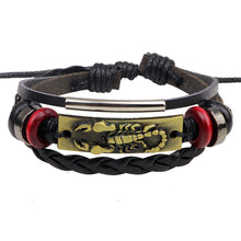 Handmade Men Bracelet Fashion Punk Gold / Silver Leather Scorpion Bracelet Men Bracelet Jewelry